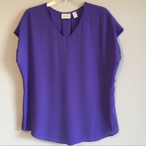 Chico's Oversized Loose V-Neck Shirt Blouse Top